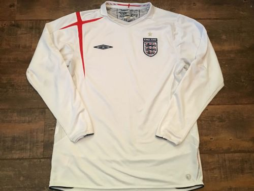 2005 2007 England L/s Home Football Shirt Large